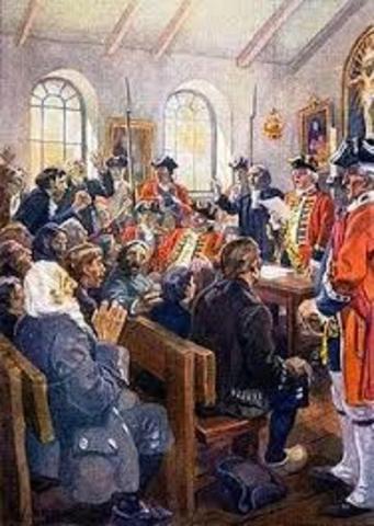 Après 1713, les Britanniques tentent d'amener les Acadiens à prêter un serment d'allégeance au roi du Grande-Bretagne. Les Acadiens refusent de prêter le serment.
