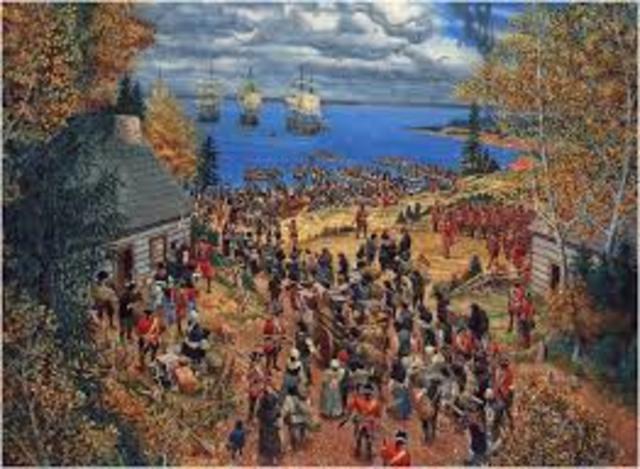 En 1755, les Britanniques commencent la déportation des Acadiens à la demande de la gouverneur Britannique de la Nouvelle-Écosse, Charles Lawrence. Les Acadiens étaient déporter par bateau dans les treize colonies et dans les Antilles.