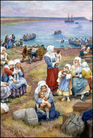 Pendant le déportation près de 10 000 Acadiens vivent ce qui est appelé «le Grand Dérangement».