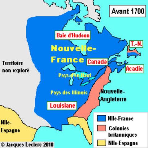 Le territoire de la Nouvelle-France apres le traite du Ryswick avant 1700