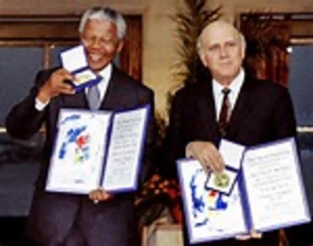 Nelson Mandela is awarded the nobel peace prize