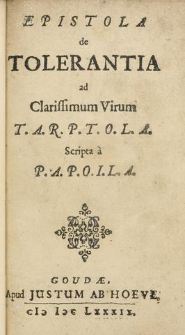 Epistola de tolerantia (A letter concerning toleration)