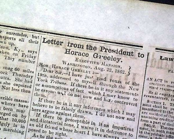 Famous Letter to Horace Greeley