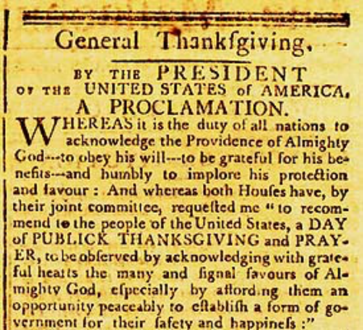 Proclamation for National day of Thanksgiving