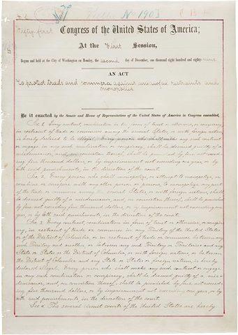 Congress passes the Sherman Anti-Trust Act.