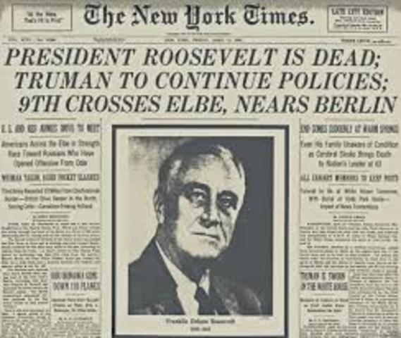 FDR Death -truman becomes president