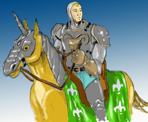 O cavaleiro espera para embarcar num navio para ir para a sua terra.