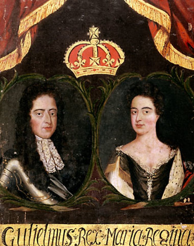 James II flees to France upon discovering William and Mary's intention of overthrowing him