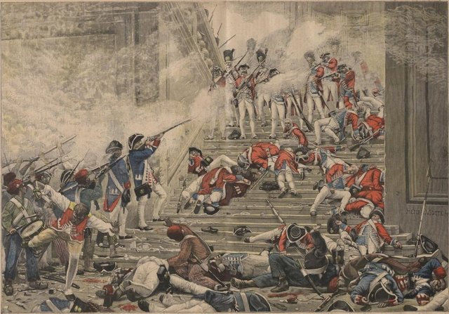 French men and women invade the Tuileries and massacred the royal guards, imprisoning Louis XVI and his family
