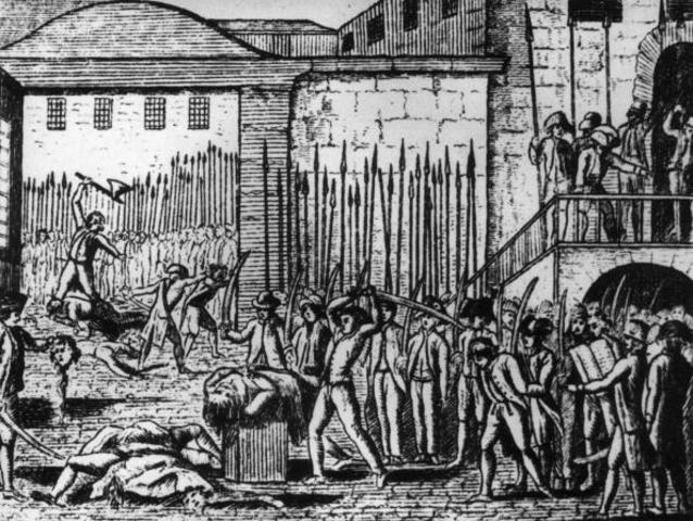 all throughout September, French nobles, priests, and royalist sympathizers fall victim to angry mobs in September massacres