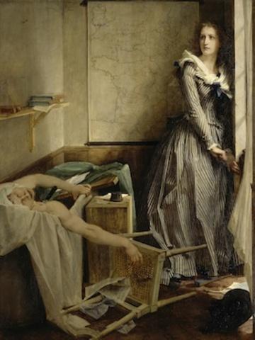 Charlotte Corday murders Jean-Paul Marat