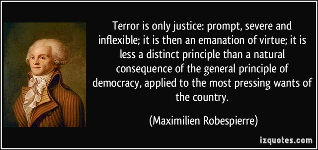 """Maximilien Robespierre declares that terror """"flows"""" from virtue"""