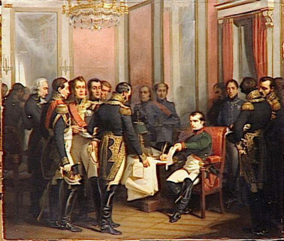 Britain, Austria, and Russia work together to bring Napoleon from power; they all sign peace agreements with France to end the wars