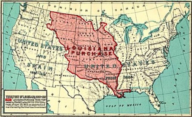 Napoleon sells the Louisiana territory to the Americans for $15 million