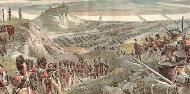 Napoleon and his army march into Russia