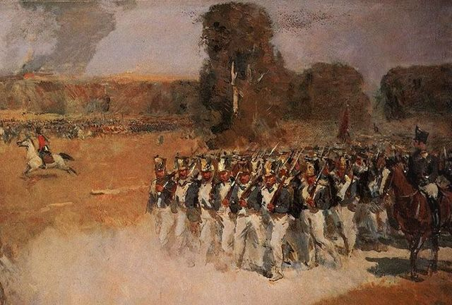 Napoleon's army and Alexander I's army battle at the Battle of Borordino