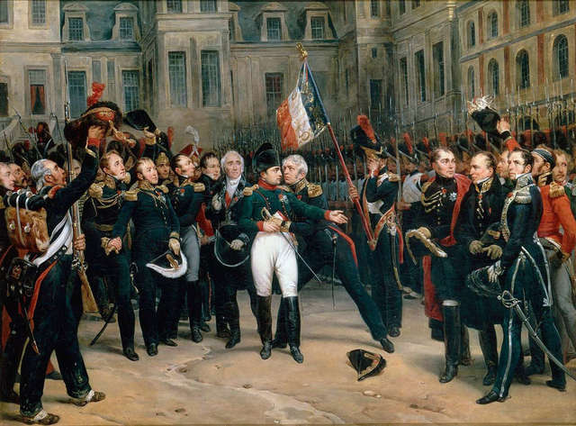 Napoleon accepts terms of surrender and is exiled to the island of Elba