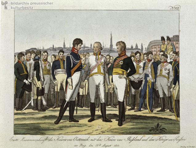Czar Alexander I, Prussian king Frederick William III and Austrian emperor Francis I sign the Holy Alliance