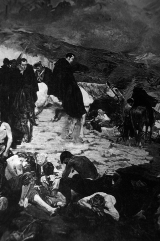 Simon Bolivar takes his army across the Andes Mountains and, by taking the Spanish army by surprise, is victorious in the following battle