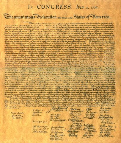 The Second Continental Congress issues the Declaration of Independence