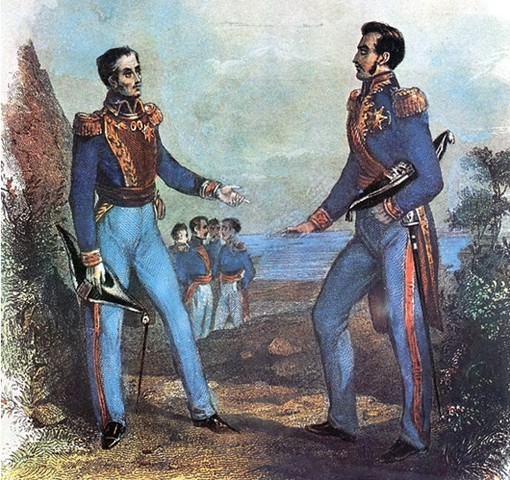Simon Bolivar and Jose de San Martin meet and discuss how to drive out remaining Spanish forces