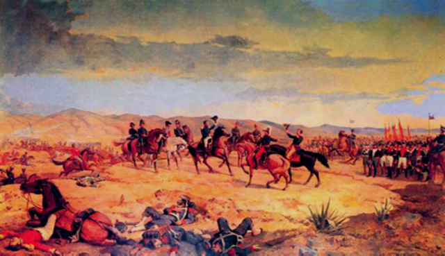 Simon Bolivar, with a larger, unified army (consisting of San Martin's army also), is victorious at the Battle of Ayacucho against the Spanish