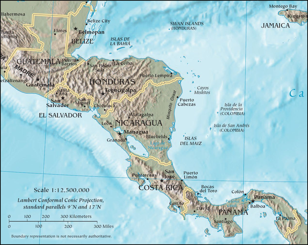 multiple Central American states declare their independence from Spain and from Mexico