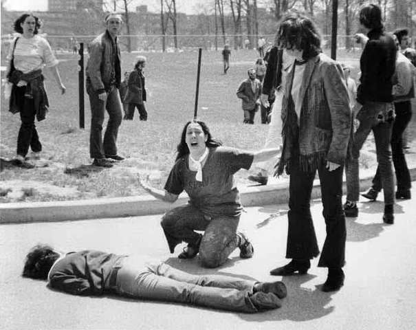 National Guard open fire on students protesting at Kent State