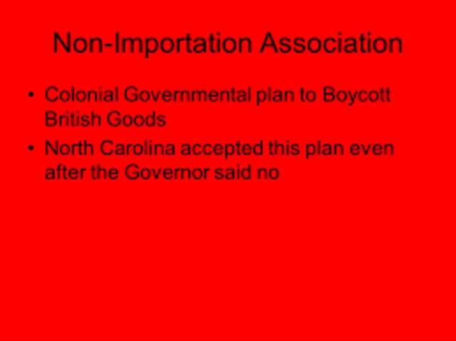 Non-Importation Association CHap 9