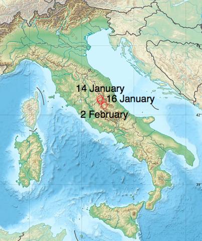 Appennine 1703 earthquakes