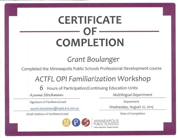 ACTFL OPI Familiarization Workshop