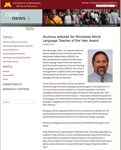 Selected 2015 MN World Language Teacher of the Year