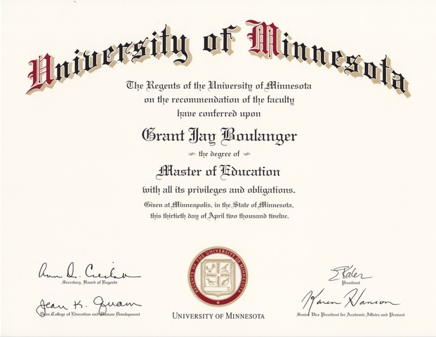 M.Ed. University of MN, Curriculum and Instruction