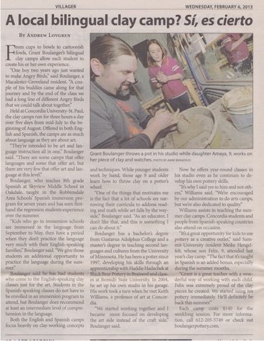St. Paul Villager Article: Local Bilingual Clay Camp