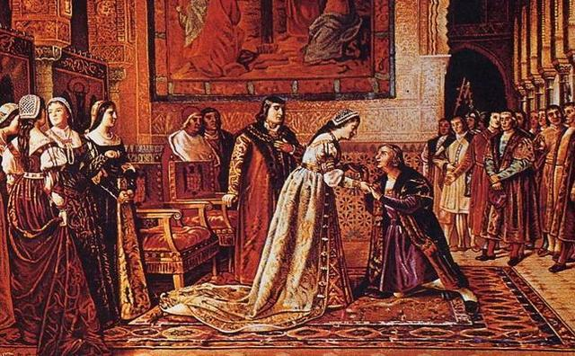 Colón es recibido por los Reyes Católicos