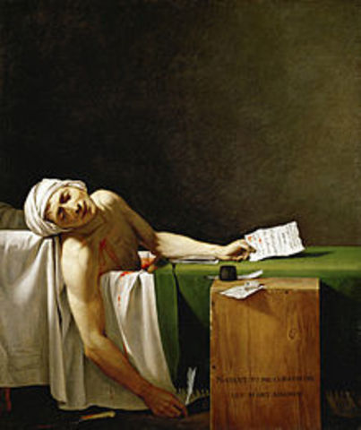 Assassination of Jean-Paul Marat by Charlotte Corday.
