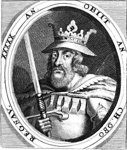 Harald Blåtand lader sig kristne