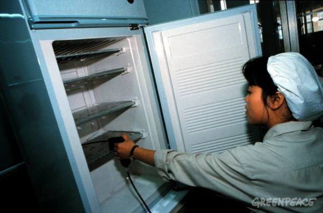 По инициативе Гринпис немецкие ученые разработали технологию Greenfreeze, которую можно использовать в производстве экологических безопасных охлаждающих автоматов