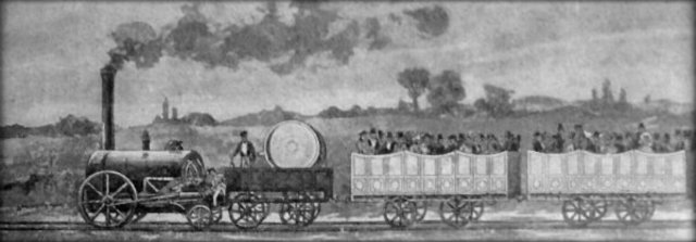 George Stephenson begins to work on the world's first railroad line