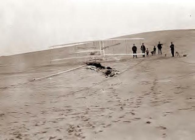 Orville Wright Pilots the Wright Flyer at Kill Devil Hills in Kitty Hawk