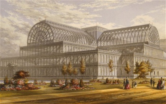 """the Crystal Palace Exposition in London demonstrates and celebrates the """"works of industry of all nations."""""""