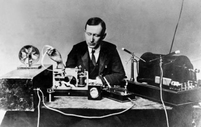 Italian inventor Guglielmo Marconi uses theoretical dicoveries about electromagnetic waves to create the first radio