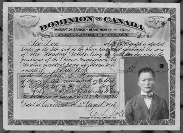 NEGATIVE   Chinese Immigration Act of 1885