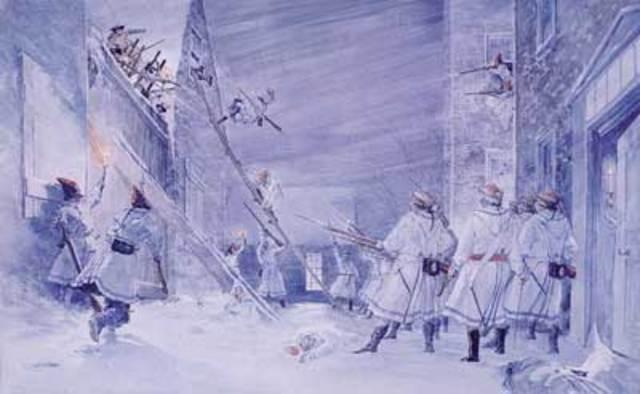 American invaders assault Quebec