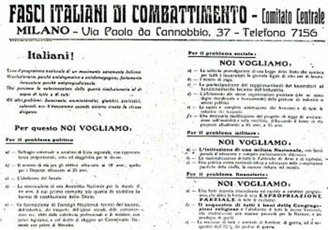 Fondazione dei Fasci Italiani di combattimento