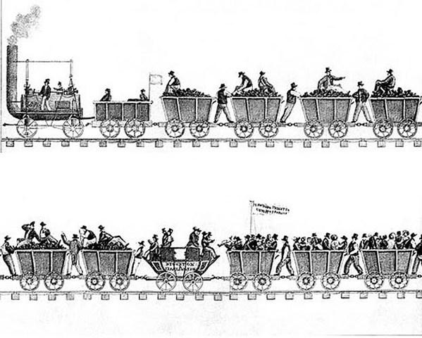 Primer tren miner amb màquina de vapor entre Stockton y Darlington