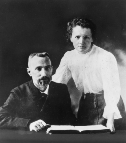 Pierre and Marie Curie began their work and discovered radium and polonium.