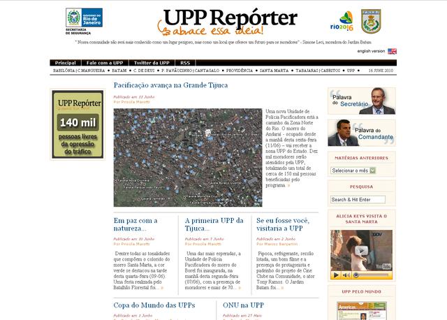 Lançamento do site UPP Repórter