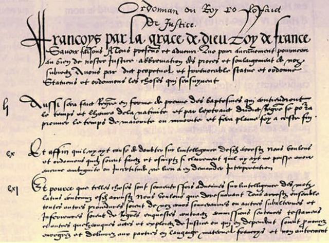 HISTOIRE : L'ordonnance de Villers-Cotterêts