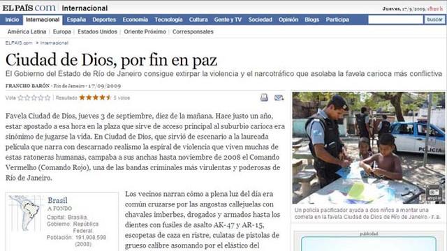 """El País: """"Cidade de Deus, enfim em paz."""""""